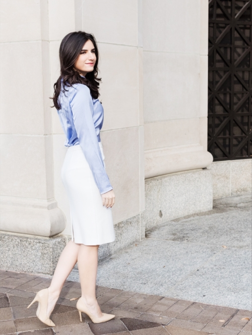 Winter white skirt and light purple outfit idea