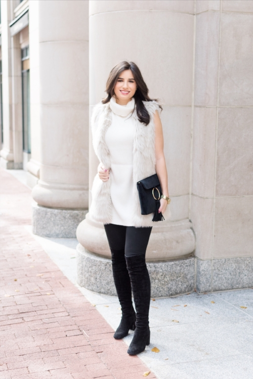 Furry Vest and Sleeveless Sweater Outfit Idea