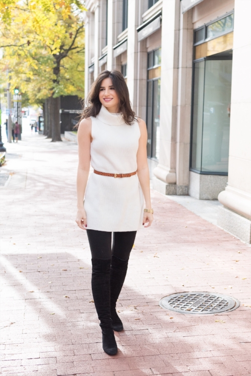 Belted sleeveless sweater
