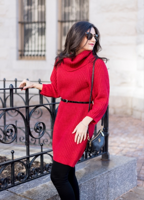 Red Sweater Dress With Leggings Outfit Idea