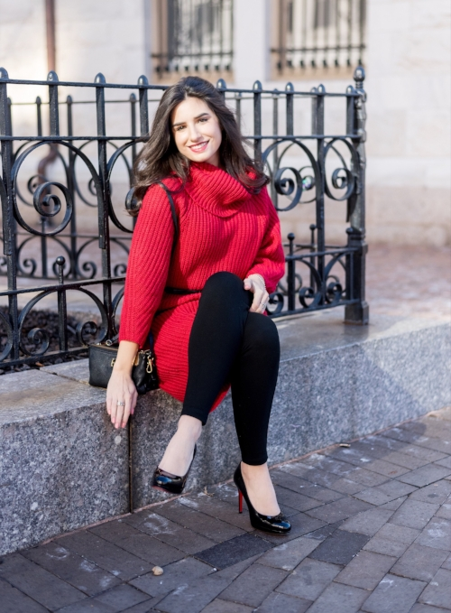 Stand out with a Red Sweater Dress!