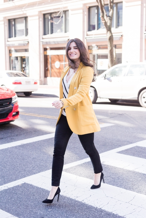 yellow suit jacket outfit idea
