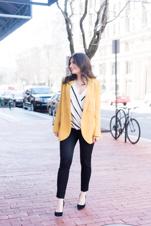 Yellow Jacket Work Outfit Idea for Women