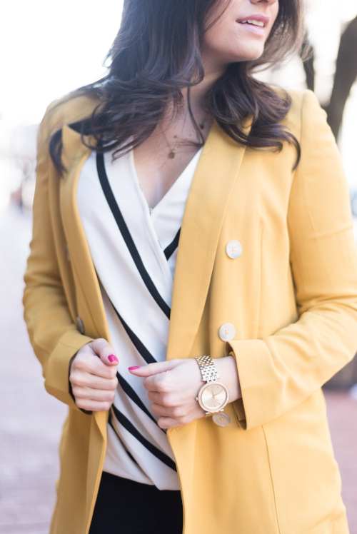 Yellow Suit Jacket with Black and White Top