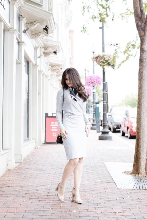 Pretty wrap dress with silk scarf