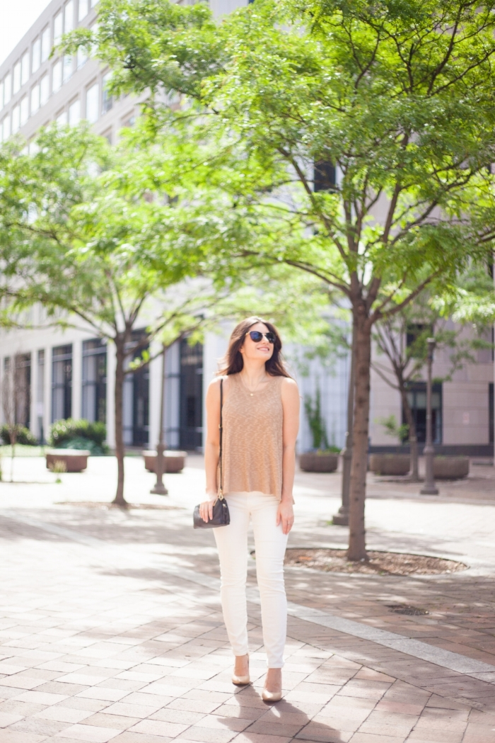 White Jeans and Neutral Tank Cute Look for Summer