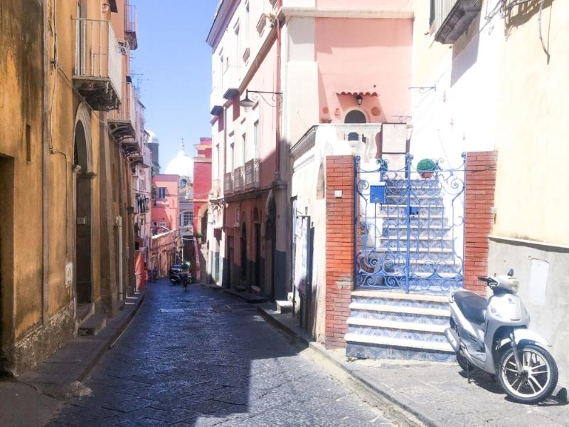 The narrow winding streets of Procida Italy