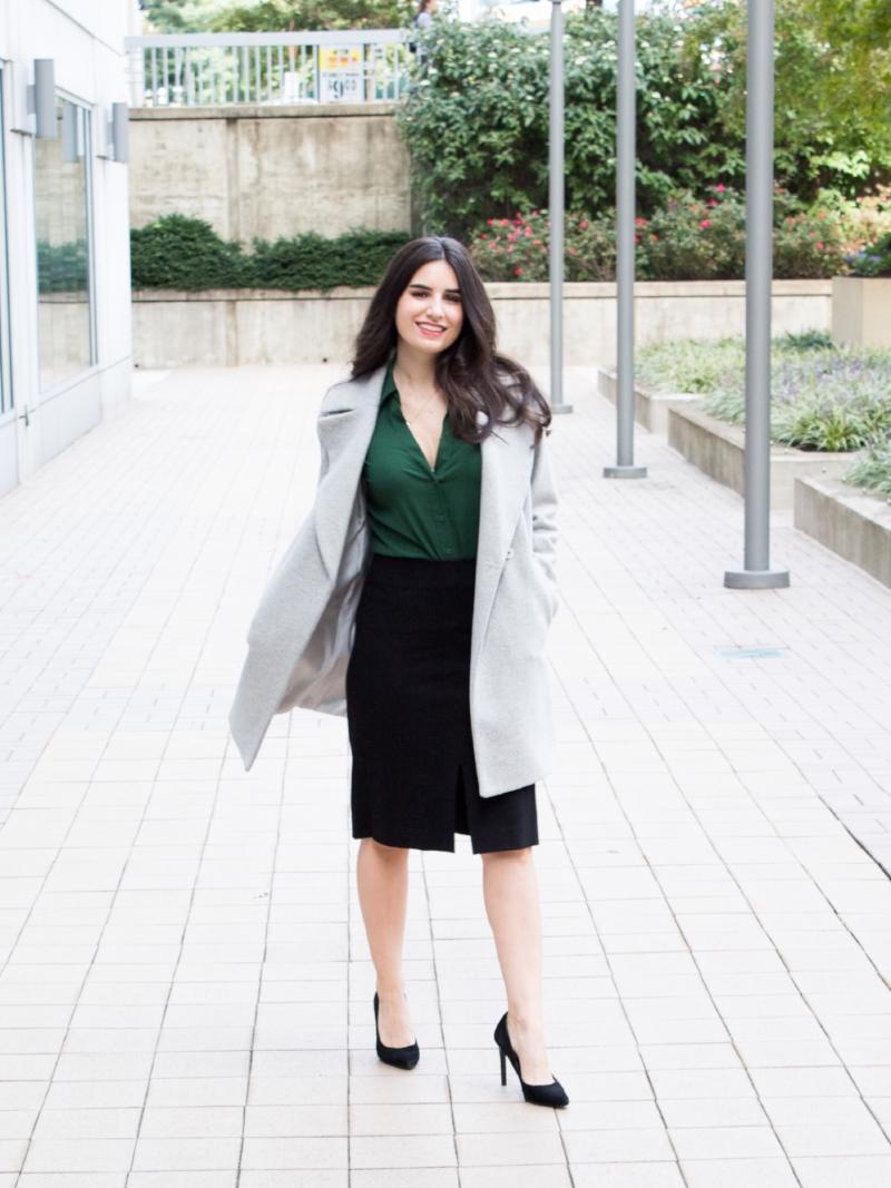 gren top black skirt gray coat