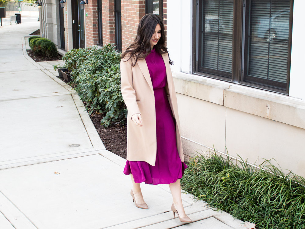 Gal Meets Glam Dress with Camel Coat