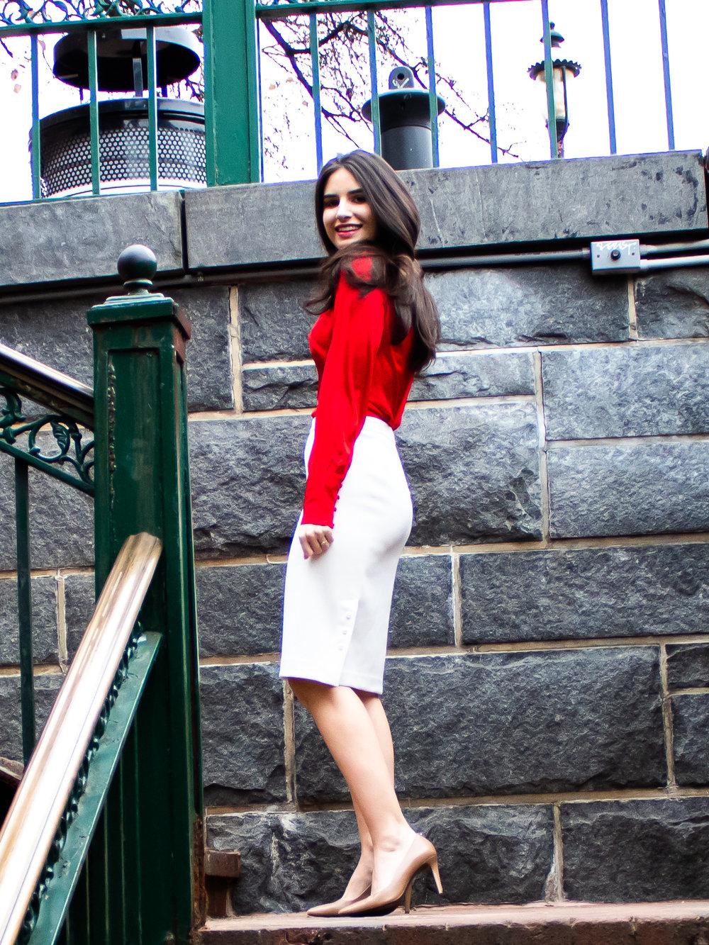 Red blouse, white skirt