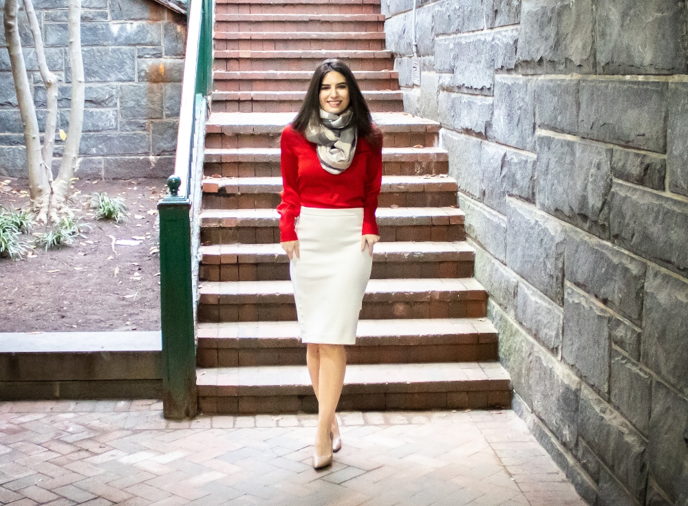 red blouse, white skirt, cozy scarf