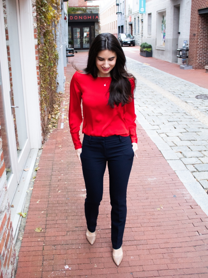 red blouse navy pants