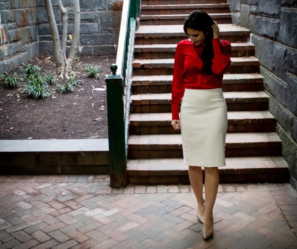red blouse white skirt