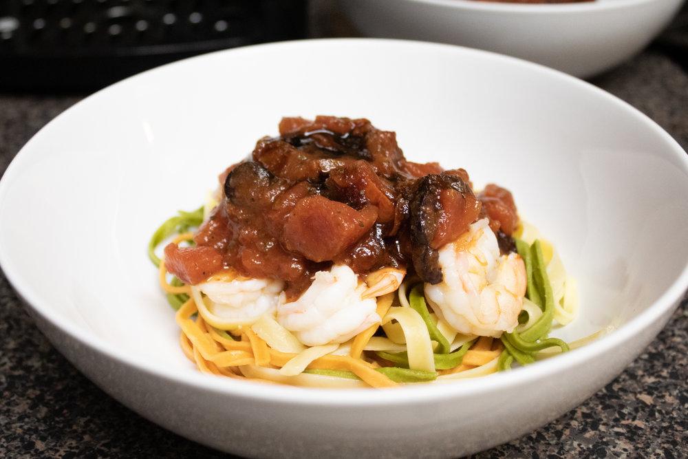 One-Pot Mediterranean Shrimp Linguine