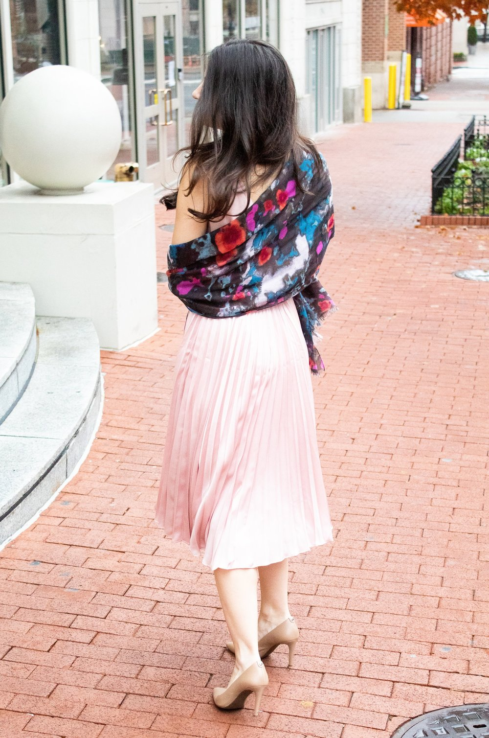 pink pleat dress with scarf