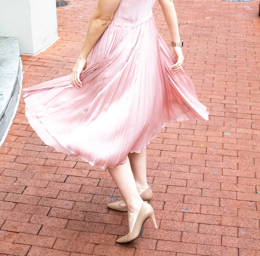 pink pleat dress
