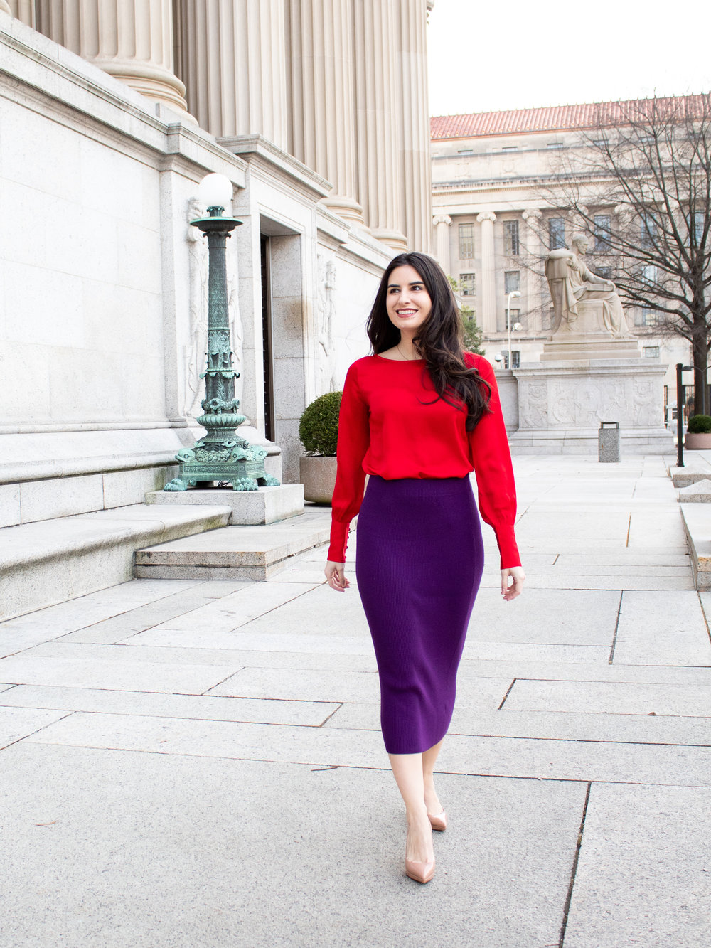 red and purple outfit