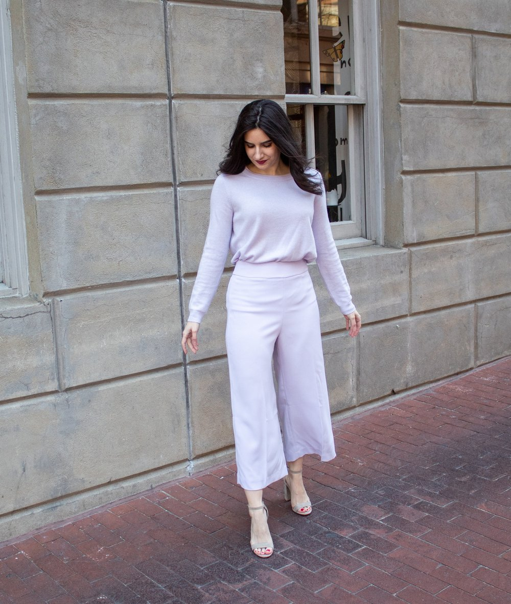 Sweater:  Pure , Bottoms:  Express (lilac purple) , Shoes:  Similar, Nordstrom, Sam Edelman
