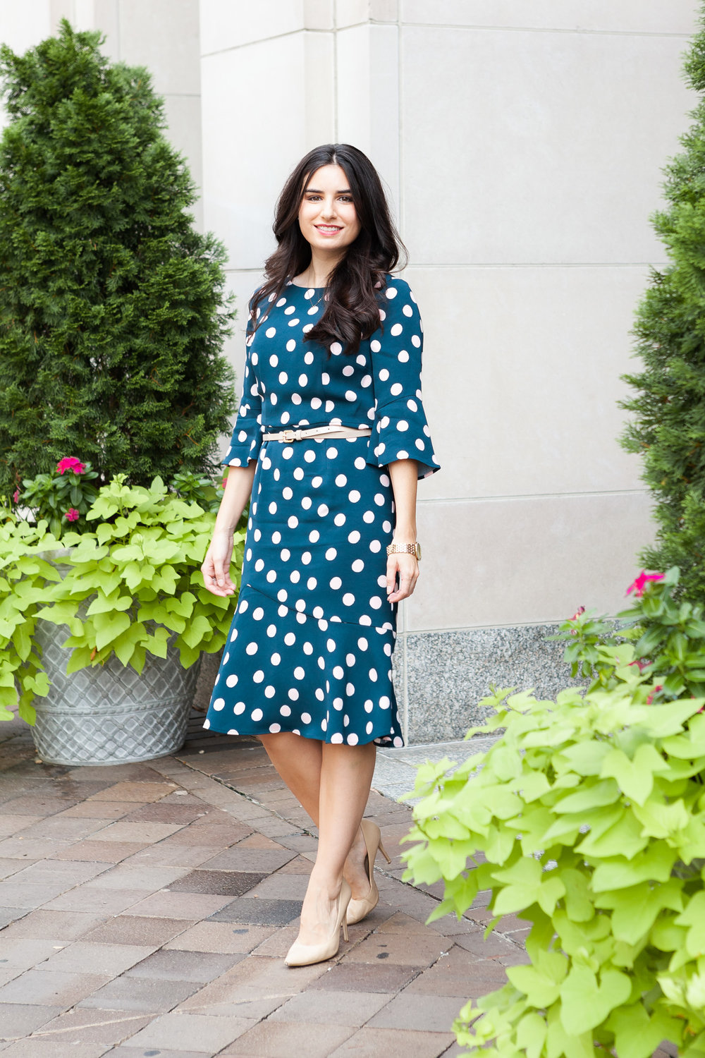 Dress: I bought this last year from Boden. Here's a  similar one  that's in-stock. Shoes:  Similar, Sam Edelman, Nordstrom