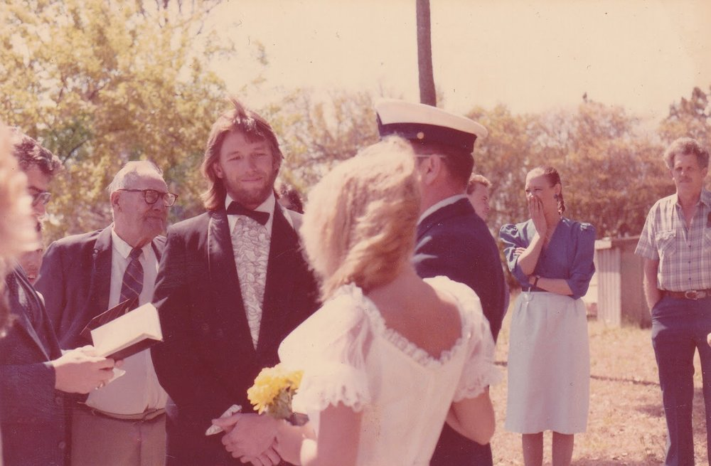 Clammerhead on his wedding day. His Granddaddy, Captain Fairley Styron,is next to him to the left.