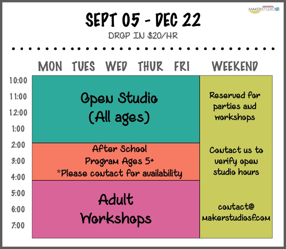 Maker Studio Schedule