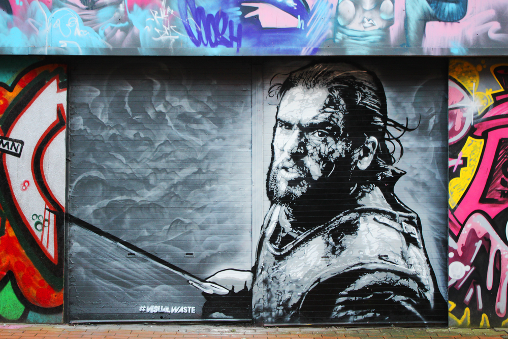 Jon Snow mural by  Visual Waste  (sadly now it's painted over.) Photo by  Peace Ofuré