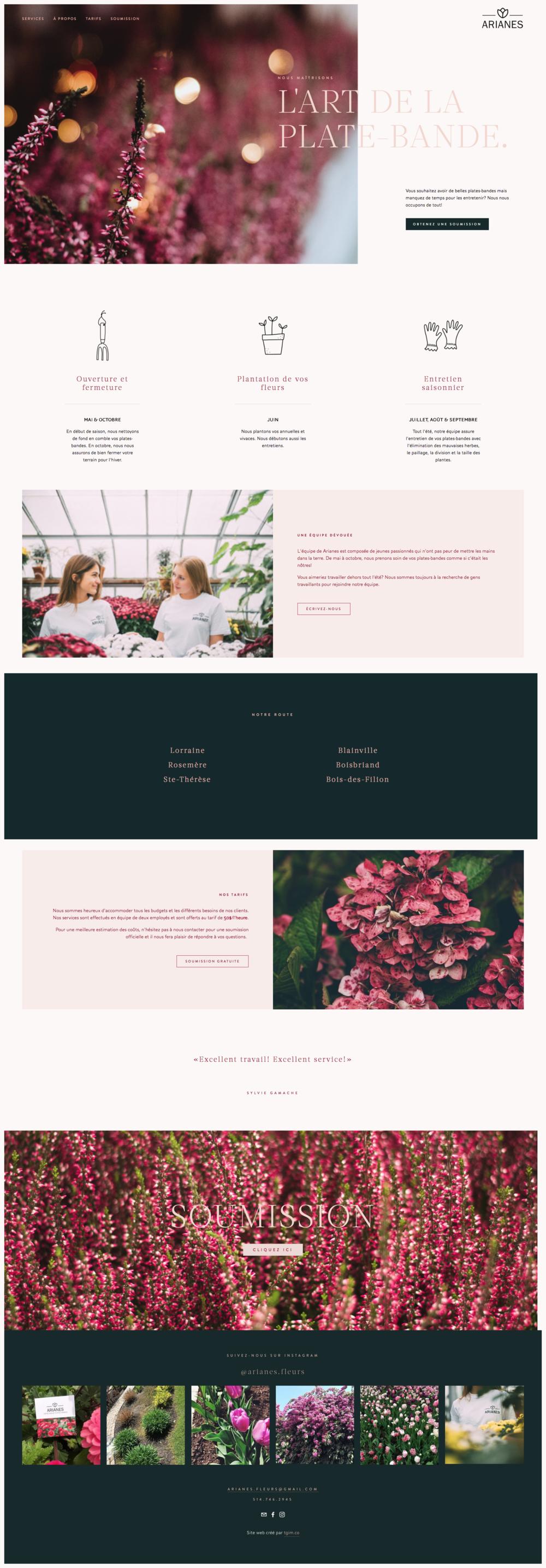 Arianes fleurs - site web Squarespace par tgim.co