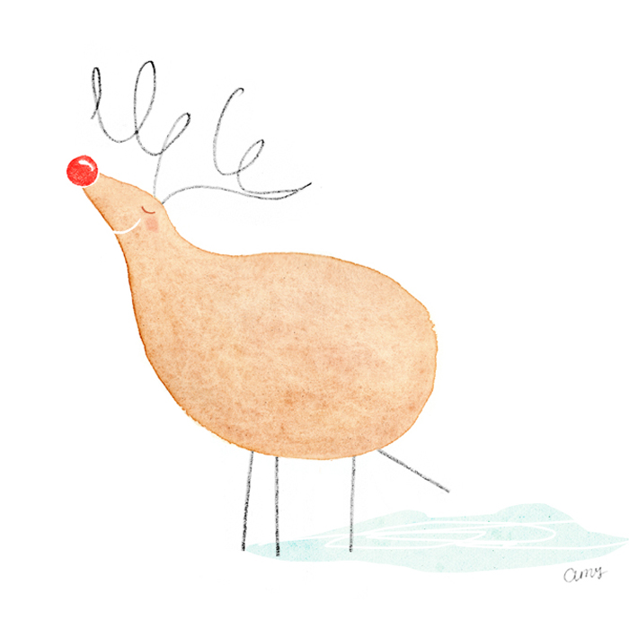 Christmas reindeer by illustrator Amy Oreo | Quirky and whimsical freelance illustration