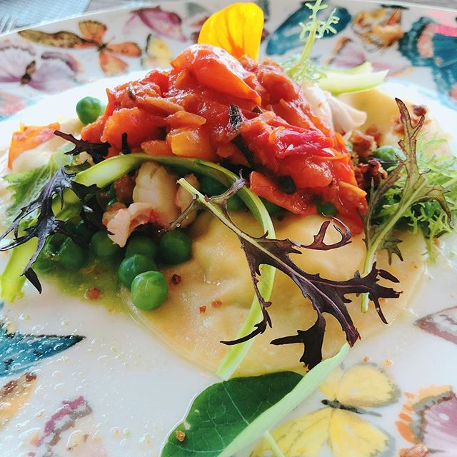 Chef Andrew // Lobster Ravioli, Spring Peas, Slow Cooked Tomatoes 🍅 , Shaved Asparagus, Brown Butter Croutons, Red Mustard Frills, and Spring Pea Cream
