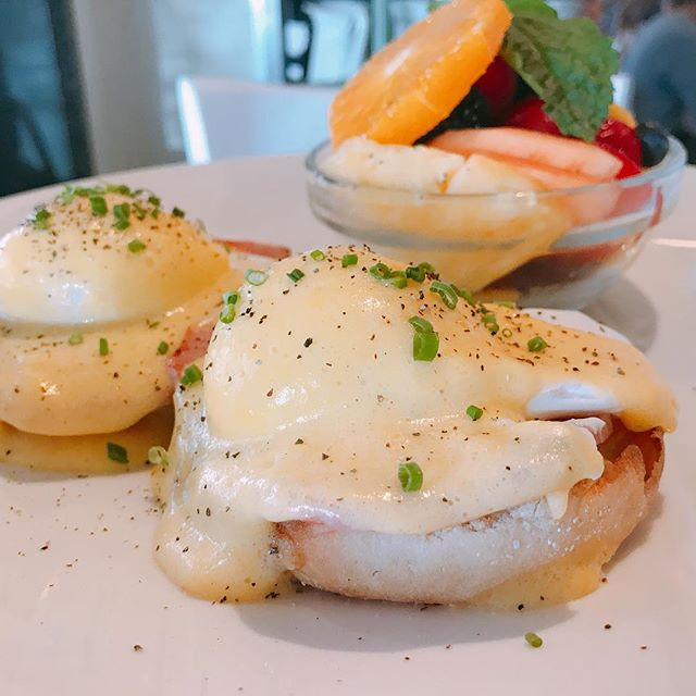 Toast Bakery & Cafe // Eggs Benedict 🥚 with a side of fresh fruit 🍉