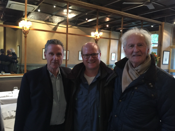 Legendary Location Manager Nick Daubeny, me (David O'Reilly) and Michael Stevenson at Riva, Barnes, London.