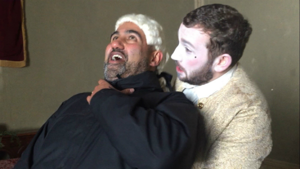 Producer Vinnie Jassal being strangled by Al Foran, a la Goodfellas