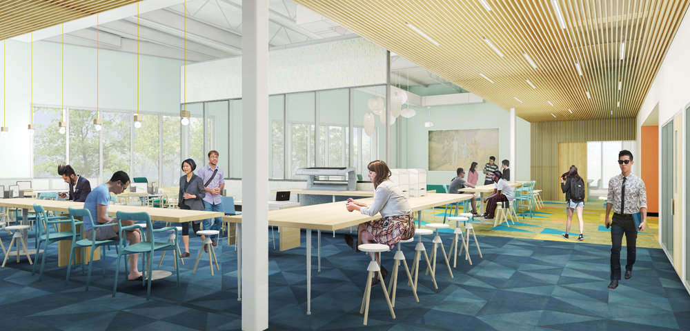 Design development view of the teen/maker space and conference room beyond. (Rendering courtesy of WGM Architects)