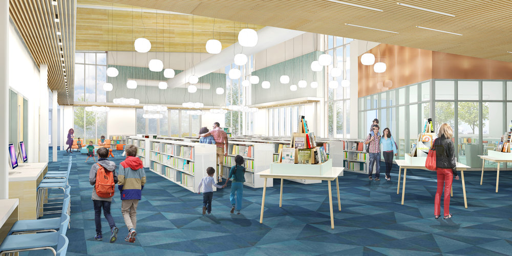 Design development view from the middle of the stacks towards the children's area. (Rendering courtesy of WGM Architects)
