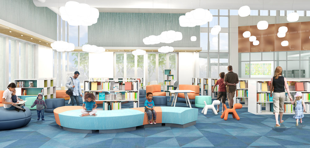 Design development view of the children's book stacks and copper-cladded lounge area.   (Rendering courtesy of WGM Architects)
