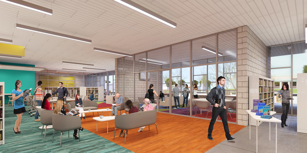 Interior view of main Library front lounge. (Rendering courtesy of Simpson Coulter Studio)