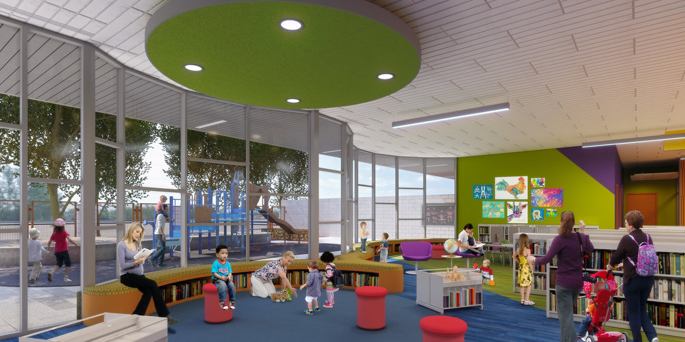 Interior view of main Library children's area and reading circle with exterior play space beyond. (Rendering courtesy of Simpson Coulter Studio)