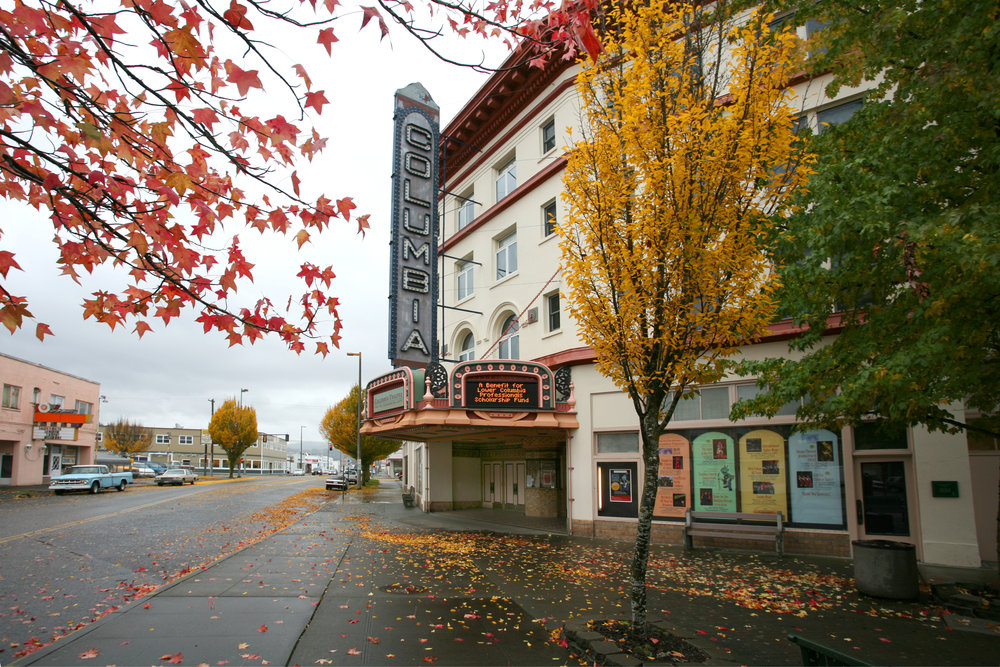 The historic Columbia Theatre for the Performing Arts, in fall. (Image courtesy of LMN Architects)