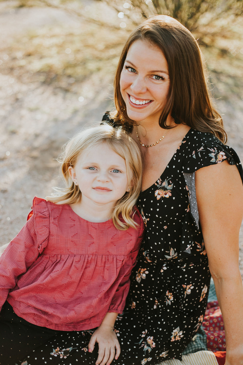 Mother & Daughter portrait | Natural light desert lifestyle family photography session | Lost Dutchman Mesa Arizona