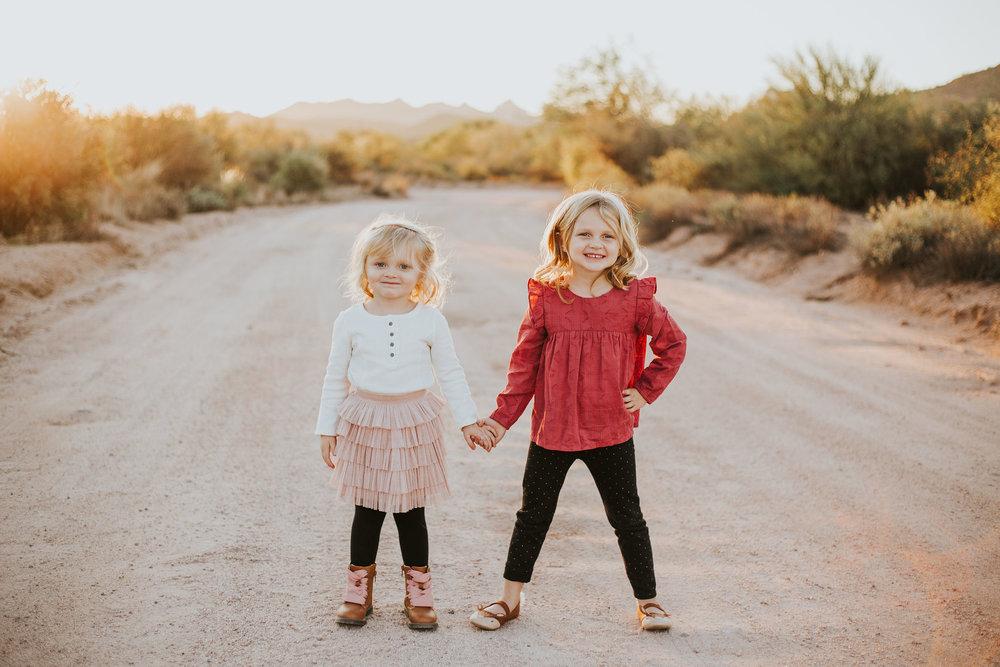 Sisters portrait | Natural light desert lifestyle family photography session | Lost Dutchman Mesa Arizona