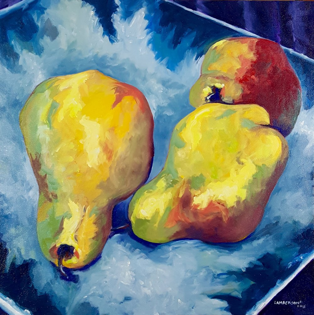 Pears on Blue Plate