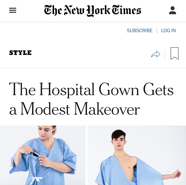 The New York Times - The Hospital Gown Gets a Modest Makeover