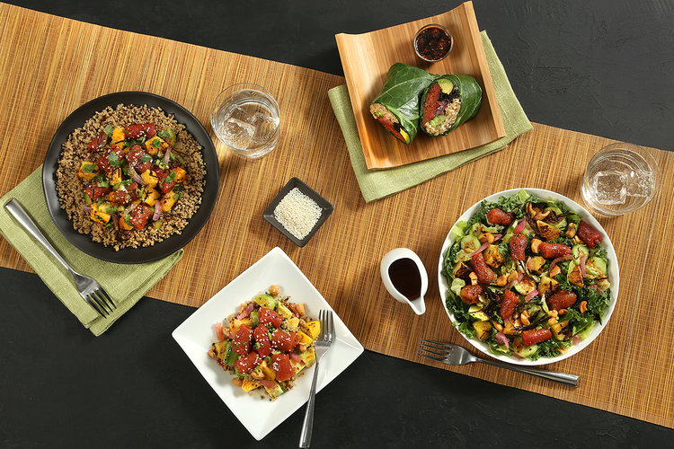 Ahimi™ in different dishes including poké, quinoa, wraps, grain bowls and salads.