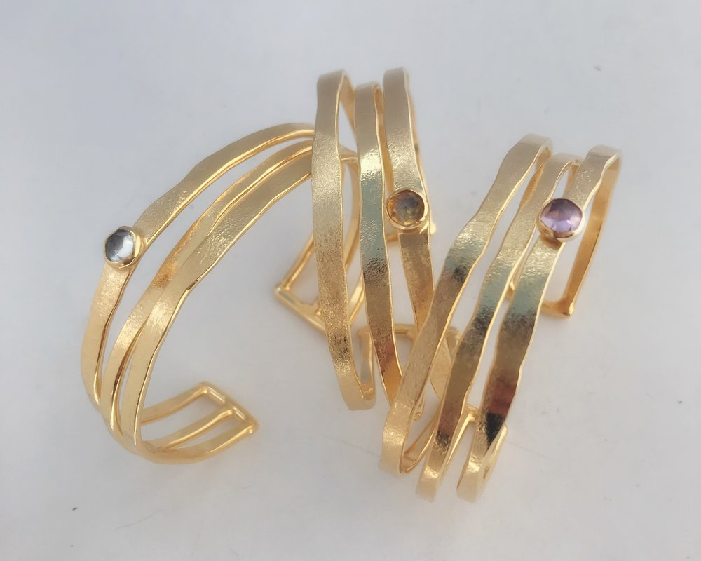 Three Cage Bracelets, Gold Plate, Assorted Semi Precious Single Stone