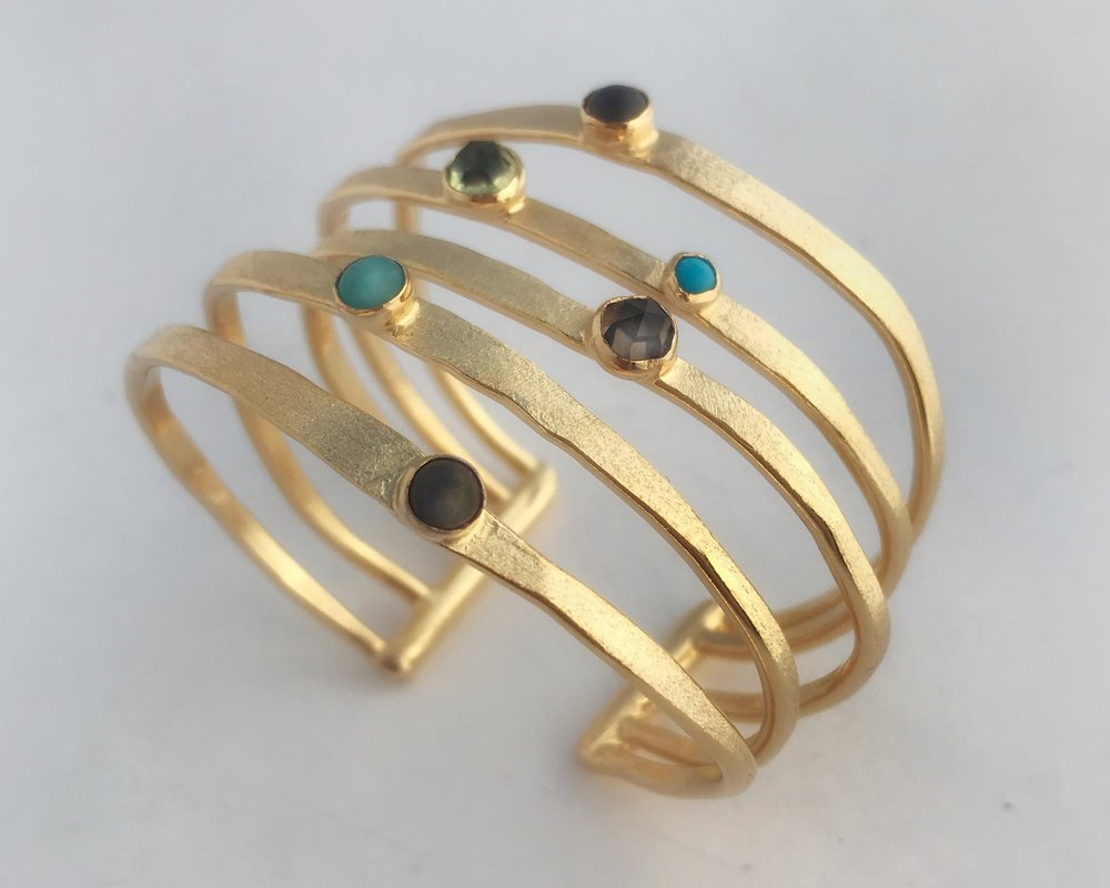 Five Cage Bracelet, Gold Plate, Semi Prcious Blue Tone Stones