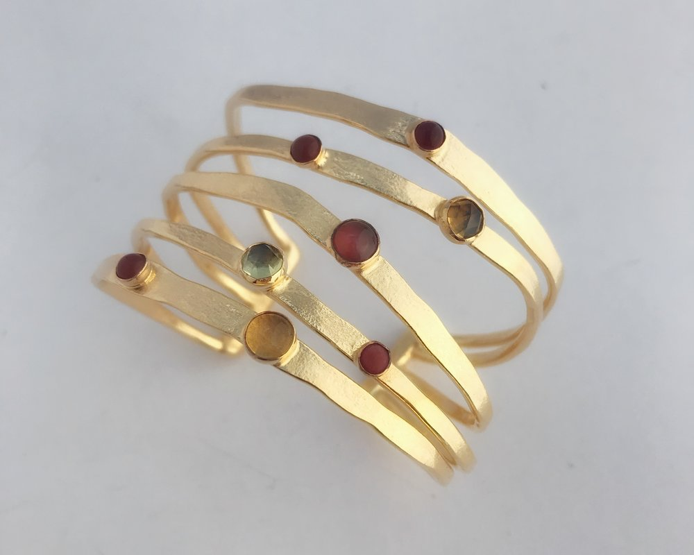 Five Cage Bracelet, Gold Plate, Semi Precious Mixed Earth Tone Stones