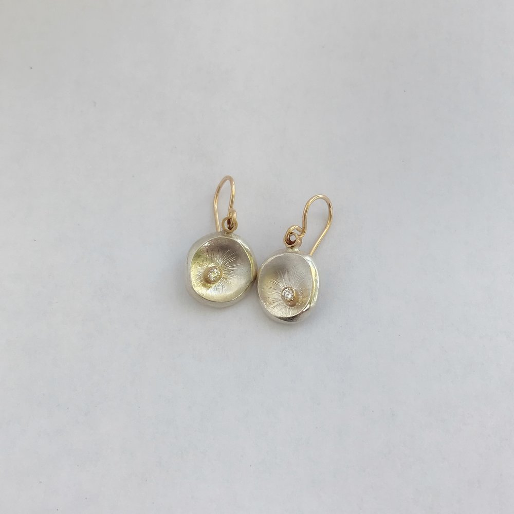 Small Plate 14k Gold/Sterling Silver 2pt. Diamond