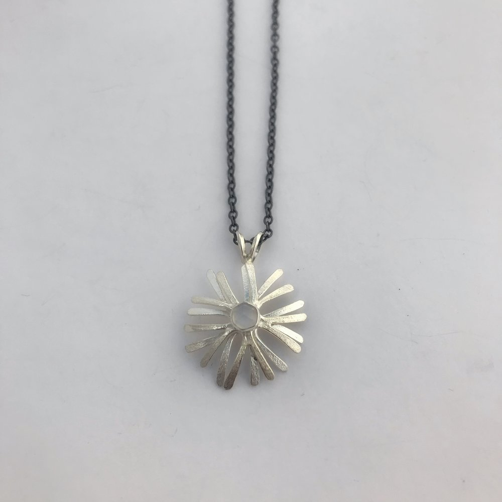 Starburst Pendant, Sterling Silver, Oxidized Chain, Moonstone