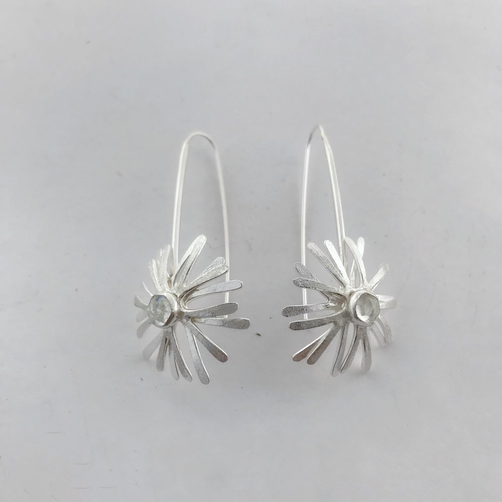 Starburst Earrings, Sterling Silver, White Topaz