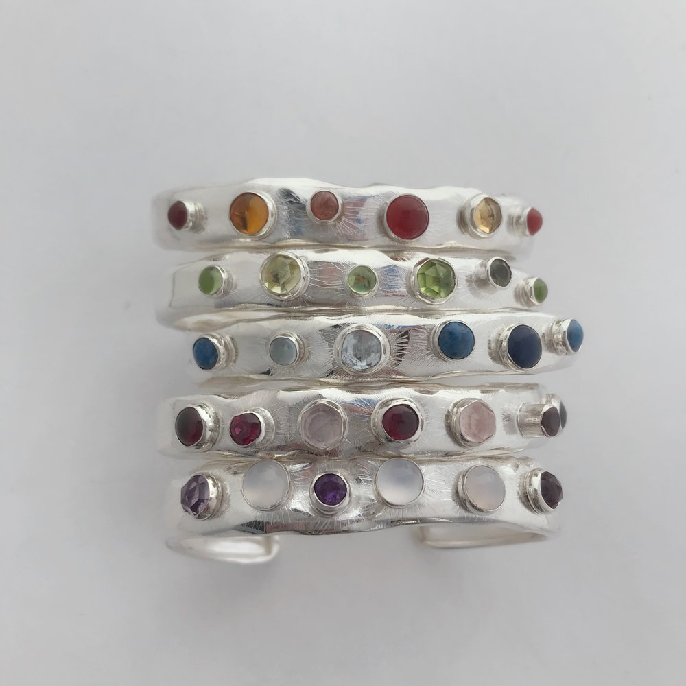 Assorted Twilight Cuffs, Sterling Silver, Seven Monochromatic Semi Precious Stone Combinations